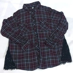 Torrid long sleeve plaid top with lace design